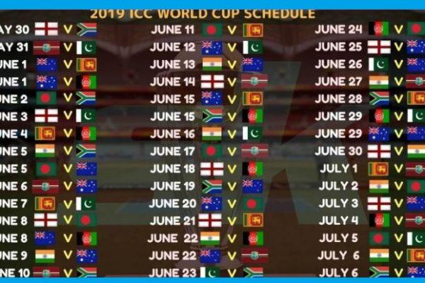 ICC World Cup Schedule 2019